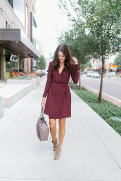The Miller Affect in a burgundy Leith wrap dress from Nordstrom