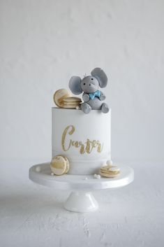 Carters Christening cake with his favourite zoo animal. Half Birthday Cakes, Baby First Birthday Cake, Baby Boy Christening Cake, Baby Boy Cakes, Elephant Birthday Cakes, Elephant Cakes, Deco Baby Shower, Baby Shower Cakes, 1st Year Cake