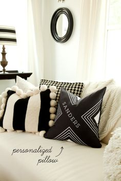 Black and white living room inspiration featuring Tiny Prints personalized pillows