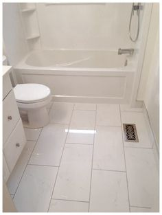 12 x 24 ceramic tile for the floor White cabinet, tub, toilet in small bathroom click now for more bathroom tile layout tiles tile in a small bathroom bathroom tile layout small tile shower small bathroom floor tile layout Small Tile Shower, Small Bathroom Tiles, Small Tiles, Bathroom Layout, Bathroom Flooring, Bathroom Ideas, Ceramic Flooring, Master Bathroom, Upstairs Bathrooms