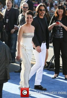 """Lana Parrilla & Fred Di Blasio arrival on the red carpet at World Premiere of Disney's """"Maleficent"""" at the El Capitan Theatre on May 28, 2014 in Hollywood, California."""