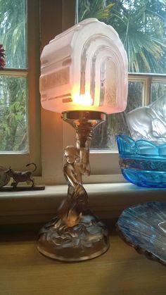 Antique Lamps, Vintage Lamps, Art Deco Glass, Glass Lamps, Art Deco Lighting, Art Deco Design, Lamp Bases, Vintage China, Pottery Art