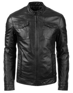 Leather Trend Men's Motorcycle Genuine Leather Jacket LT628 at Amazon Men's Clothing store: