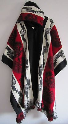 Llama Wool Man Cape Poncho red Hood Men Coat Jacket Mens - Handmade in Ecuador