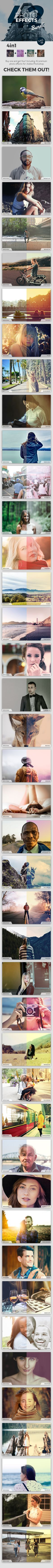 This 4in1 bundle features 4 premium Adobe Photoshop action sets, including a total of 42 stunning and unique effects to spice up your personal photos, your next project or even your photography portfolio!  Get this bundle here: http://bit.ly/1PGq0tP