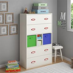 The Lucerne Kids Dresser adds convenient storage space to your child's bedroom with four (4) large drawers and open compartments with bins for shoes, blankets, clothes and other items. Made in USA.