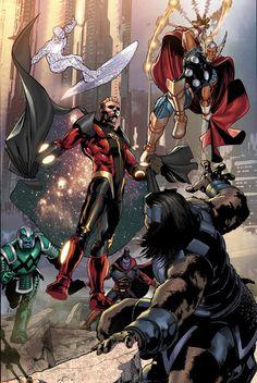 Marvel-Cosmic powered superheroes: Ronan, Gladiator, Silver Surfer, Quasar, and Beta Ray Bill Comic Book Characters, Marvel Characters, Comic Character, Comic Books Art, Comic Art, Book Art, Marvel Comics Art, Marvel Heroes, Anime Comics