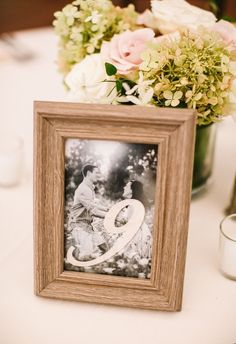 Yes to engagement photos as table numbers // Lena Mirisola Photography