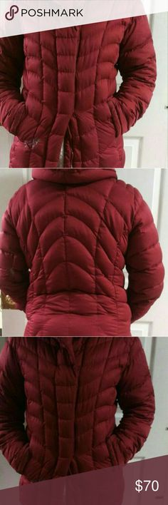 Maroon Patagonia jacket Nice maroon color. Has snap button closure and zipper closure. Got a little damage on one of the sleeves and front from a tide pod not melting correctly. According to google it can be removed with rubbing alcohol. The sleeves are also a bit worn looking from use. Patagonia Jackets & Coats Puffers