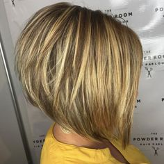 The Full Stack: 50 Hottest Stacked Haircuts Stacked Blonde Balayage Bob Blonde Balayage Bob, Golden Blonde Highlights, Blonde Layers, Short Hair With Layers, Short Hair Cuts, Short Hair Styles, Bronde Bob, Bob Styles, Bob Rubio