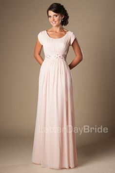 Chloe | Modest Prom Dress | Mormon Prom Gown | Sleeves | LatterDayBride & Prom | SLC | Utah | Worldwide Shipping | Sweethearts Ball Gown | Senior Dinner Dance Dress | This darling modest prom dress features a ruched bodice gathered at the waist, a flattering scoop neckline and a delicate beaded waist band with a flowy chiffon skirt.    Dress available in Blush or Slate Blue    *Pictured in Blush