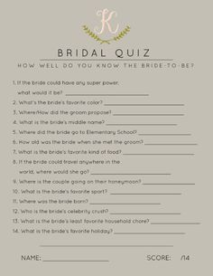 Bridal Shower Games, Bridal Shower Quiz, How Well Do You Know the Bride? // visit http:// for customization info! Wedding Table Games, Wedding Shower Games, Bridal Shower Party, Bridal Showers, Bridal Parties, Reception Games, Best Friend Wedding, Sister Wedding, Bridal Games