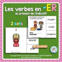 Verbes en -ER - FRENCH Clip Cards - Les verbes en -ER au présent de l'indicatif - en français