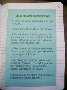 Steps for Simplifying Radicals