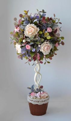 Different Arrangements - See beautiful models! Get Inspired! (So pretty and lots to look at but no directions. Flower Crafts, Diy Flowers, Flower Decorations, Fabric Flowers, Paper Flowers, Christmas Decorations, Artificial Floral Arrangements, Flower Arrangements, Topiary Centerpieces