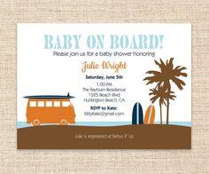 Surfboard Baby Invitation - Surfer Dude Baby Shower or Birthday Party Invitation - DIY Printable Baby on Board Surf Invitation. $15.00, via Etsy.