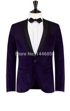 >> Click to Buy << 2017 Elegant Shawl Lapel Groom Tuxedo Groomsmen Best Man Purple Velvet Blazer Tuxedos For Men Wedding Prom Suits With Pants #Affiliate