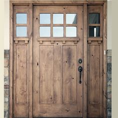 Knotty Alder 3068 Four Lite Entry Door Craftsman Style with matching sidelites. Entry door arrives assembled and ready to install. Matching sidelites x The Doors, Entry Doors, Wood Doors, Entrance, Entryway, Craftsman Style Homes, Craftsman Style Front Doors, Craftsman Houses, Door Design