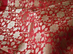 Silk Brocade Fabric in Red and Gold Floral Weaving - Indian Silk, Wedding Dress Fabric - Pure Banarasi Silk Fabric by Yard