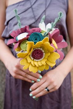#Bouquet with #CanaryYellow, #BabblingBrook, #plum, and #ivory. #munclefredart #handmade #wildflower #wedding #custom