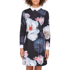 Ted Baker Kaleesa Chelsea Flower Collar Dress (1.560 NOK) ❤ liked on Polyvore featuring dresses, long-sleeve mini dress, long sleeve dress, sleeve maxi dress, maxi dresses and long-sleeve maxi dress