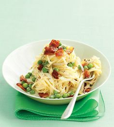 Angel hair pasta with bacon and peas. Yes, please!
