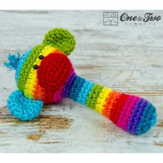 Rainbow Sock Monkey Rattle Crochet Pattern by One and Two Company