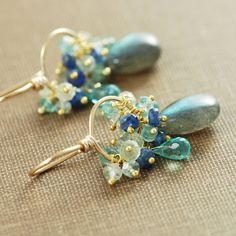 Gemstone Gold Earrings Labradorite Sapphires Aquamarine Apatite, Hoops Blue Teal, aubepine on Etsy, $74.00