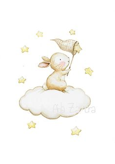 Nursery Art BUNNY FISHING STARS Art Print Nursery por AidaZamora