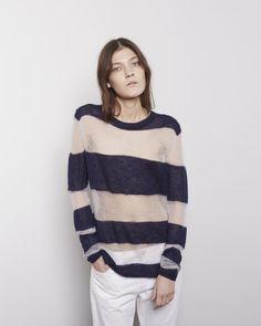 Acne Studios / Octave Striped Mohair Pullover, Acne Studios / Pop White Trash Jean