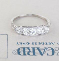 Deco Platinum Five Diamond Wedding Band, $4,500.00 via @Erica Cerulo Weiner