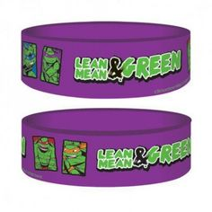 Features ♦ Official Teenage Mutant Ninja Turtles Purple Rubber Wristband ♦ High quality and officially licensed ♦ Purple wristband with images of the turtles and the phrase 'Lean, Mean and Green' ♦ Wristband measures 65mm Diameter x 25mm High  Benefits ♦ Great for birthday parties and as party bag fillers ♦ Perfect fit for children ♦ Makes a great present for any TMNT fan or collector, old or young ♦ Guaranteed to be popular with all TMNT fans.  www.toys4tikes.com