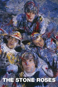 The Stone Roses paint photo shoot. John Squire inspire by Jackson Pollock