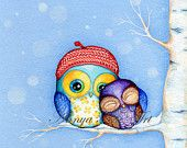 Owl in a Little Red Beret - Painting by Annya Kai - Owl Decor Snow and Birch Trees with Adorable Owl Couple-chouette-hihou-amour-dessin-neige-hiver Illustrations, Illustration Art, Art Mignon, Owl Art, Cute Owl, Little Red, Painting & Drawing, Baby Painting, Rock Painting