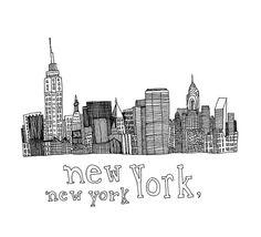 New York New York 5x5 Print of Original Pen by virginiakraljevic, $14.00