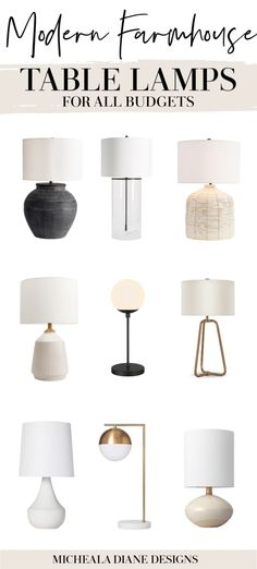 24 Modern Farmhouse Living Room table lamps for all budgets. Table lamps under $50. Neutral Farmhouse Table Lamps. #modernfarmhouse #tablelamps #farmhousestyle