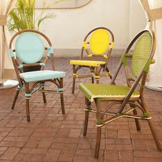 Brighten your patio with the Padmas Plantation Paris Patio Bistro Dining Chair . Inspired by charming Paris bistros, these rattan frame and synthetic. Beach Furniture, Patio Furniture Sets, Outdoor Furniture, Furniture Ideas, Furniture Design, Furniture Market, Furniture Buyers, Rattan Furniture, Bistro Table Set