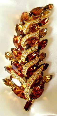 Vintage Brooch Weiss Unsigned Topaz Rhinestone Leaf by Ladysfancys, $37.00