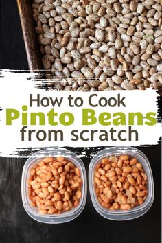 Cooking pinto beans from scratch is a great way to enjoy beans as a side dish or as a meatless main dish. They are so much cheaper than canned beans. Healthy Summer Recipes, Healthy Dessert Recipes, Mexican Food Recipes, Dinner Recipes, Spanish Recipes, Mexican Cooking, Dinner Healthy, Healthy Eating, Vegetarian Main Dishes