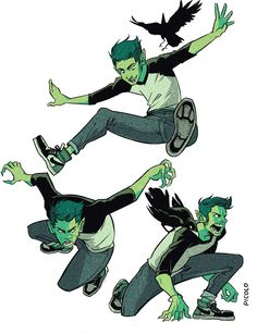 Illustrator and Comic Artist Gabriel Picolo. Gabriel Picolo is a famous comic artist and illustrator from Continue Reading and for more art →View Website Teen Titans Go, Character Poses, Character Art, Jumping Poses, Gabriel Picolo, Comic Style, Raven Beast Boy, Anime Poses Reference, Hand Reference