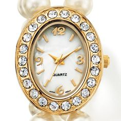 Pearlesque Glitz Watch- Ladies faux cream color pearl stretch bracelet watch featuring an oval goldtone case with faux-stone bezel. Goldtone bars embellished with faux stones decorate each side of bracelet. Regularly $19.99, buy Avon Jewelry online at http://eseagren.avonrepresentative.com