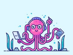 Multitasking by Alex Kunchevsky on Dribbble Squid Drawing, Human Drawing, Octopus Illustration, Cute Illustration, Elephant Icon, Ecommerce, Lion Poster, Cute Octopus, Digital Art Tutorial