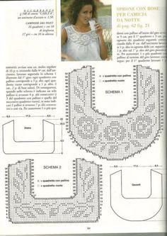 crochet yoke for t shirt - Salvabrani Col Crochet, Gilet Crochet, Filet Crochet Charts, Crochet Fabric, Crochet Motifs, Crochet Collar, Crochet Diagram, Crochet Cardigan, Thread Crochet
