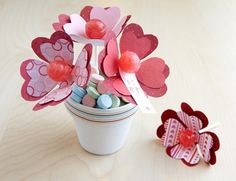 Homemade crafts great for Valentines Day. Some would make cute teachers gifts!