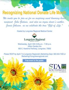 Organ and Tissue Donation Blog℠: Longview Regional Medical Center to Host Free Event Recognizing Donate Life Month