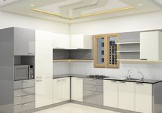 Shop for modern L shaped kitchen cabinets from Scale Inch at best prices with easy payment options and EMI available. Modern L Shaped Kitchens, L Shaped Kitchen Designs, Kitchen Cupboard Designs, Modern Kitchen Interiors, Kitchen Room Design, Kitchen Cabinet Styles, Modern Kitchen Cabinets, Modern Kitchen Design, Home Decor Kitchen