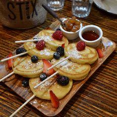 New York, NY: Mini pancake pops with blueberries, Stix's Mediterranean Grill, 112 E 23 St.