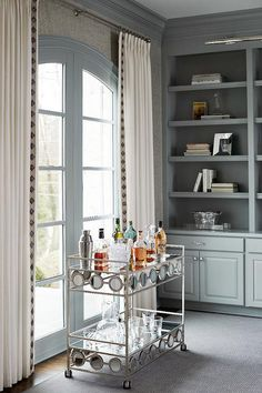 DIY: Trimming Plain Curtains to add curtain trim. Picture of a grey blue themed office via D Stone Builders c/o Centsational Style. Built In Shelves, Built Ins, Taekwondo, Luxury Interior Design, Interior Decorating, Decorating Ideas, Blue Home Offices, Plain Curtains, Interiores Design