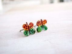 Wonderful orange and green gifts by Mary on Etsy Kids Earrings, Tiny Stud Earrings, Cute Earrings, Green And Purple, Purple Colors, Gothic Wedding Rings, Family Necklace, Green Gifts, Butterfly Pattern