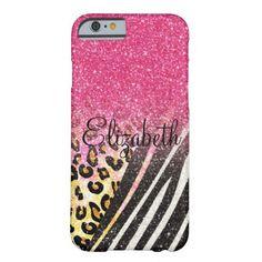 Awesome girly trendy leopard print, zebra stripes iPhone 6 case